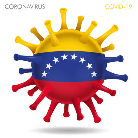 Vector illustration of Venezuela flag virus shape isolated in white background