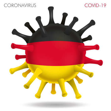 Vector illustration of Germany flag virus shape isolated in white background Иллюстрация