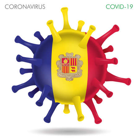 Vector illustration of Andorra flag virus shape isolated in white background