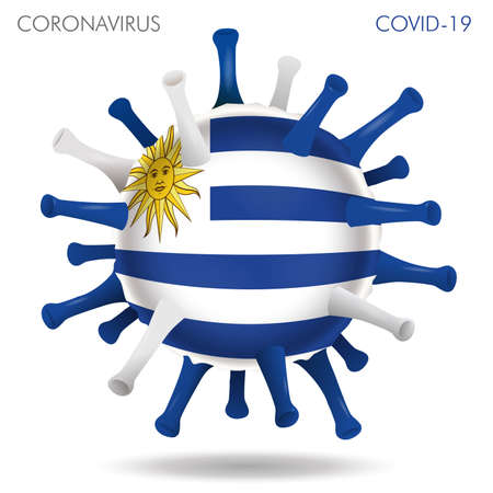 Vector illustration of Uruguay flag virus shape isolated in white background Иллюстрация