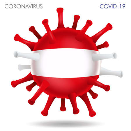 Vector illustration of Austria flag virus shape isolated in white background Иллюстрация