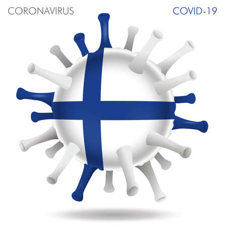 Vector illustration of Finland flag virus shape isolated in white background