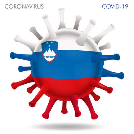 Vector illustration of Slovenia flag virus shape isolated in white background