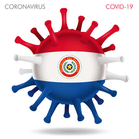 Vector illustration of Paraguay flag virus shape isolated in white background