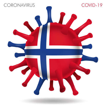 Vector illustration of Norway flag virus shape isolated in white background Иллюстрация