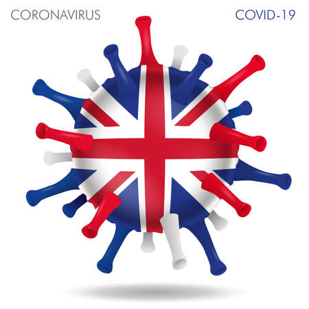 Vector illustration of UK flag virus shape isolated in white background
