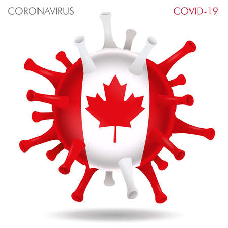 Vector illustration of Canada flag virus shape isolated in white background Иллюстрация