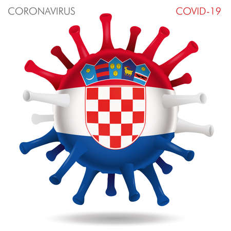 Vector illustration of Croatia flag virus shape isolated in white background