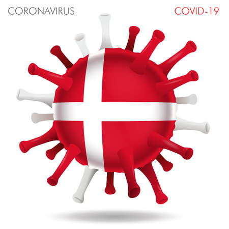 Vector illustration of Denmark flag virus shape isolated in white background