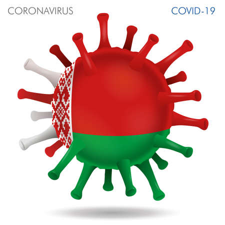 Vector illustration of Belarus flag virus shape isolated in white background