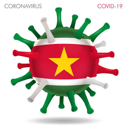 Vector illustration of Suriname flag virus shape isolated in white background Иллюстрация