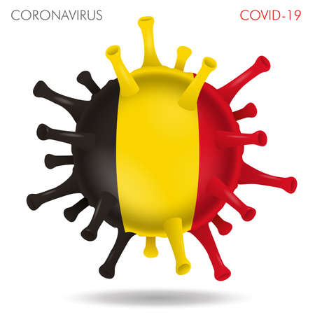 Vector illustration of Belgium flag virus shape isolated in white background Иллюстрация