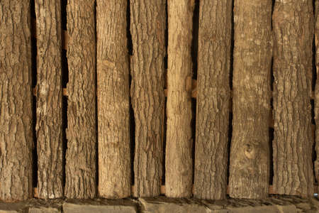 Grungy wooden textures forming a wall.