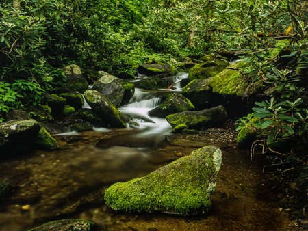 pristine moss covered waterfall in the Smoky Mountains Stock fotó