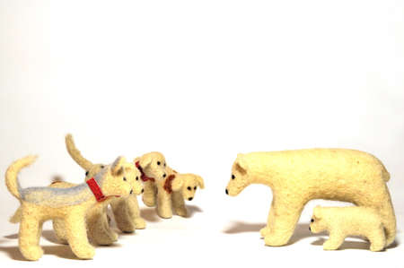 stuffed animals, dogs attacking a bears, close-up photo