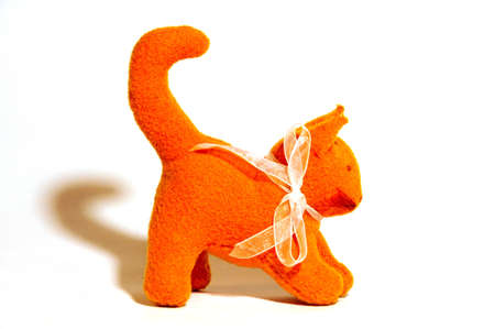 waldorf toy, orange kitten, close-up