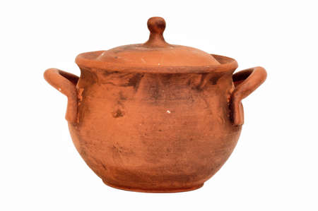 clay pot with a lid made of natural clay, isolated, close-up photo