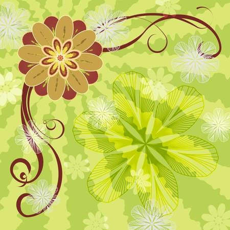 beautify: Abstract illustration - flowers ni green red and orange colors