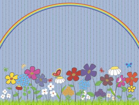 illustration - pelouse avec des fleurs et des papillons sous l'arc en ciel