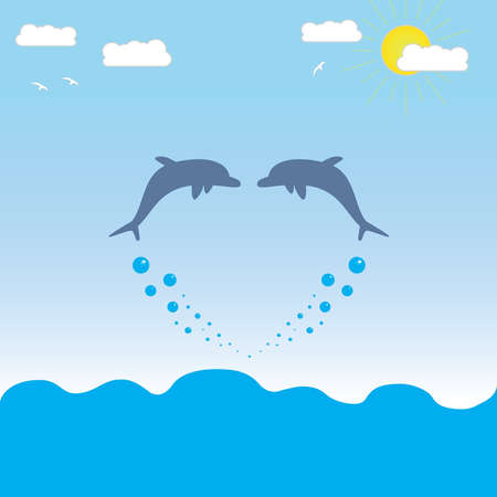 Illustration - Dolphins jumping out of the water form a figure similar to the heart