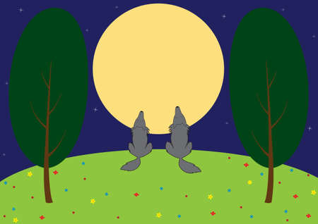 Illustration - wolves howling on the moon, on a night glade.