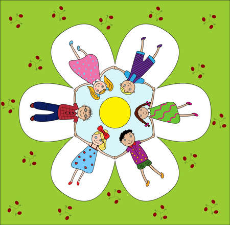 children happily smiling hold hands around, in flowers and a green grass Vector