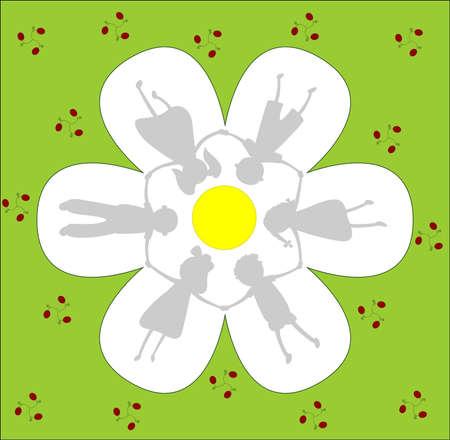 shadows of children holding hands under a huge flower Stock Vector - 13078682