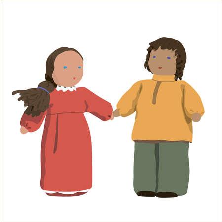 Illustration - male and female dolls on the white background, close-up Stock Illustration - 13078689