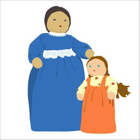 Old fashioned Mother and Daughter illustration (doll) on white background Stock Illustration - 13078690