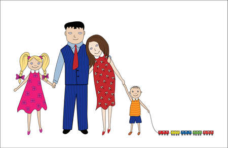 happy family - father, mother, son and daughter isolated on a white background. Vector