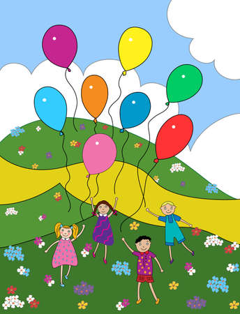 children play with balloons outdoors among the flowers photo