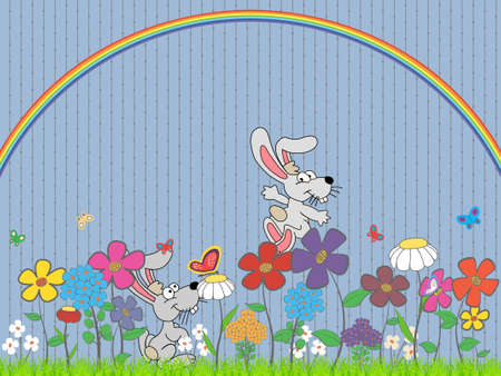 lawn with rabbits, flowers and butterflies under the rainbow Vector