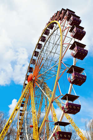 The largest Ferris wheel in Ukraine  Odessa, Shevchenko Park  Vertical view  photo