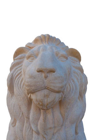 Stone sculpture of a lion, isolated on a white background  Stock Photo