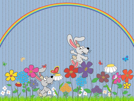 lawn with rabbits, flowers and butterflies under the rainbow photo