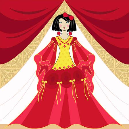 sophistication: Hermosa mujer en un vestido largo elegante Vectores
