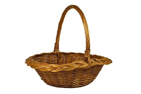 Wicker basket isolated on white background, closeup
