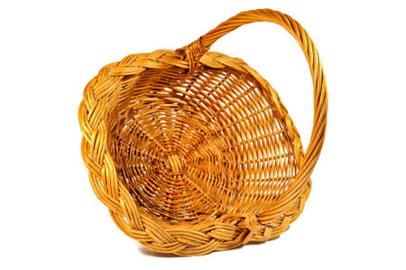 easter basket: Empty wicker basket isolated on white background, closeup Stock Photo