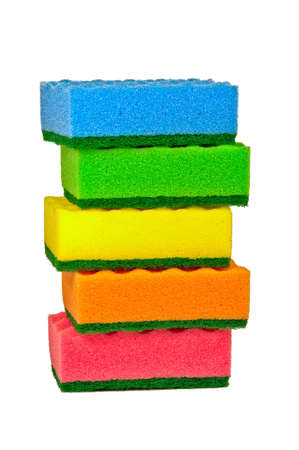 Five multi-colored sponges for washing dishes. photo