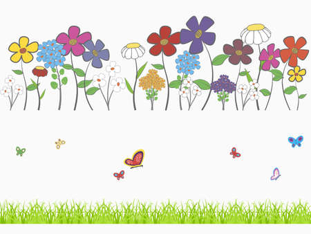 Background - floral cartoon  set with flowers, grass and butterflies Vector
