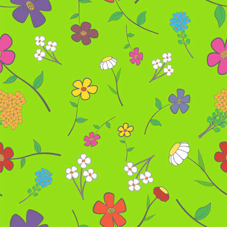 Background - floral seamless with a variety of flowers Vector