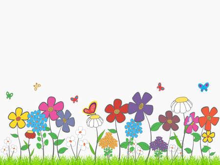 -テキスト用のスペースを持つ花の漫画のテーマの背景。  イラスト・ベクター素材