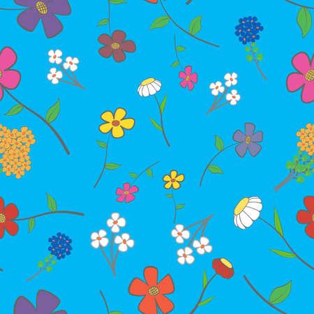 背景 - 青花の花の様々 なシームレスな  イラスト・ベクター素材