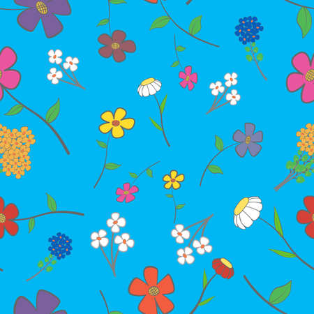 Background - blue floral seamless with a variety of flowers Vector