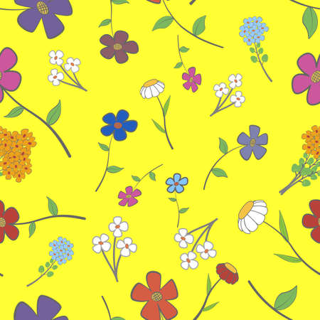 Background - yellow floral seamless with a variety of flowers Vector