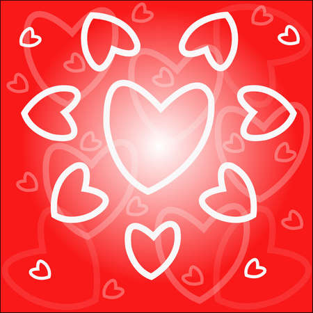 Background - white hearts on red Stock Vector - 13762182