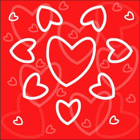 Background - white hearts on red Vector