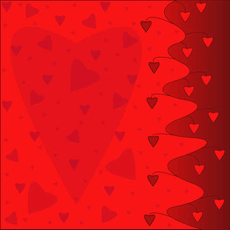Hearts scattered on a red background Vector
