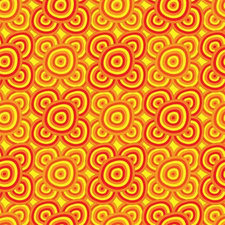 シームレスな背景 - アフリカのモチーフは、黄色のオレンジ色と赤の色で円。