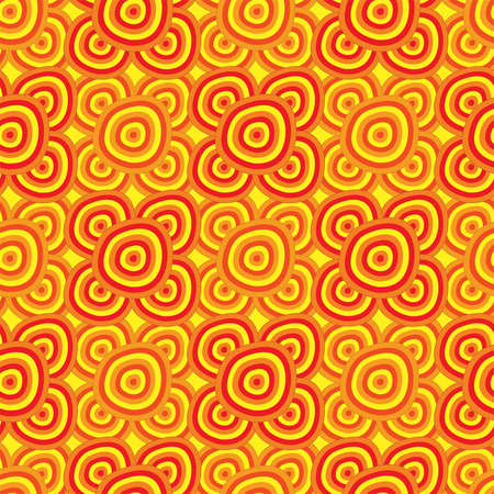 Seamless background - African motifs, circles in yellow orange and red colors.